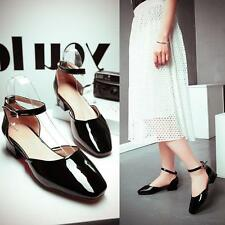 New Womens Ankle Strap Casual Flats Oxfords Patent Leather Lady Shoes Sandals