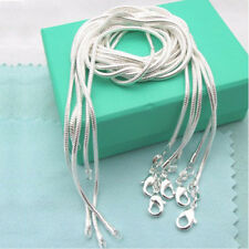 """WHOLESALE 5PCS 1MM SOLID 925 STERLING SILVER JEWELRY SNAKE CHAIN 16""""-30""""NECKLACE"""