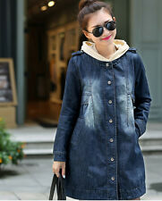 New Women's  Loose Slim Denim Coat Thin Long Sleeve TRENCH Jacket