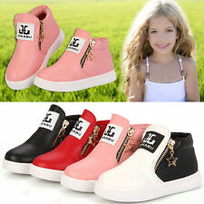 GIRLS BOYS ANKLE BOOTS TODDLER HI TOPS TRAINERS KIDS ZIPPER FASHION SHOES SIZE88