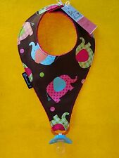 Baby Elephants Handmade Bib Style Baby Pacifier Holder