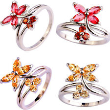 Marquise Cut Butterfly Morganite & Ruby Spinel Gemstone Silver Ring Size 6-10