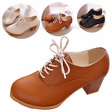 Womens Chunky Block Heel OL Prom Shoes Brogue Leather Oxford Lace Up Ankle Boots
