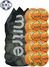 10 x MITRE IMPEL TRAINING FOOTBALLS + BALL SACK - ORANGE - SIZES 3,4 & 5