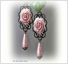 Earrings, Softest Dusky Pink rose pearl, antique bronze, clip on or pierced