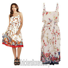 Ladies Bird Print/Floral Strappy/Summer/Beach Dress Size 8,10,12,14,16,18,20,22