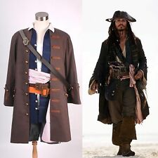 Pirates of the Caribbean Jack Sparrow Costume Cosplay Set *S-XL*