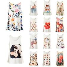 Summer Womens Sleeveless Printed T-shirts Animals Floral Blouse Vest Tank Tops