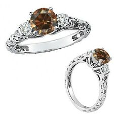 1 Ct Champagne Color Diamond Fancy Solitaire Promise Wedding Ring 14K White Gold