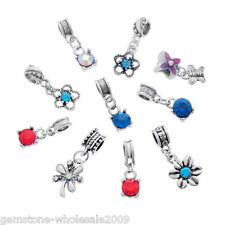 Wholesale Lots European Charms Rhinestone Dangle Beads Pendants Fit Bracelets