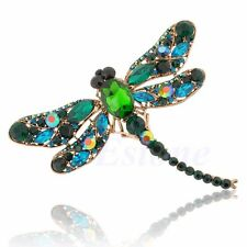 Vintage Style Green Rhinestone Crystal Waving wings Dragonfly Bird Brooch Pin