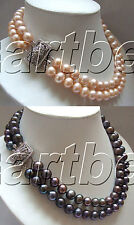 variations color 11mm 2 strands Natural freshwater pearl necklace zircon clasp