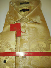 Mens Golden Baroque Paisley High Collar French Cuff Leonardi Shirt Style 390