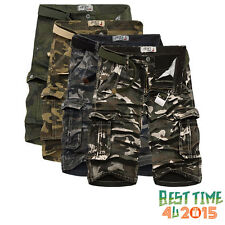 Casual Mens Cotton Summer Army Camo Combat Work Cargo Shorts Pants Trousers 1/2