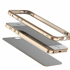 New Leather Back + Aluminum Metal Bumper Frame Case Cover For iPhone SE Skin MS