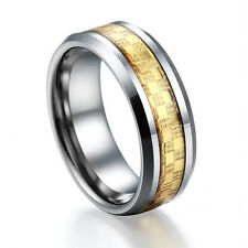 Celtic Gold Carbon Fiber Tungsten Carbide Ring Womens Mens Wedding Band 6mm 8mm