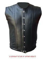 Mens REAL Sheep Black LEATHER Steel Boned Victorian Corset LARP Steampunk Goth-4
