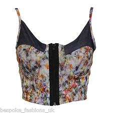 Ladies Women's Floral Denim Sleeveless Bralet Front Zip Cami Cropped Top SM ML