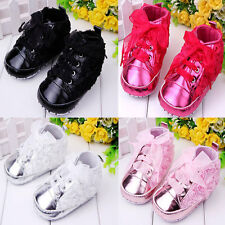 Rose Toddler Infant Baby Ribbon Shoelace Girls Running Sports Lace Up Shoes