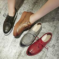 Womens Oxford Wing tip Vintage Breathable Lace up Shoes Sneakers Low Tops Shoes