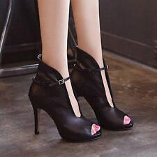 Womens Black Ankle Strap Sexy Peep Toe High Top Shoe Stiletto High Heels Sandals