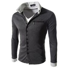 New Fashion Mens Casual Slim Fit Long Sleeve Jecket  Button T-Shirt  Shirt Tops