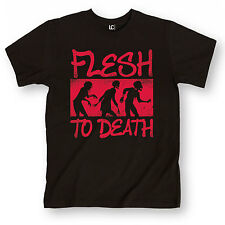 Flesh to Death Funny Zombies Undead Horror Humor Distressed Design Mens T-Shirt