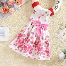 Summer Baby Kids Girls Sleeveless Floral Bow Party Dress Sundress Skirts 2-6Y
