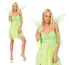 Ladies Sexy Green Tinkerbell Fancy Dress Costume Fairy Pixie Outfit New