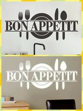 Bon Appetit Knife and fork Art Vinyl Quote Wall Stickers Wall Decals Kitchen UK