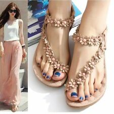 Women's Summer Casual Flats Bohemia Flower Floral Beach Sandals Strappy Shoes