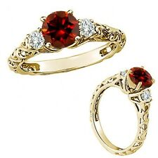 1 Carat Red Color Diamond Fancy Solitaire Promise Wedding Ring 14K Yellow Gold
