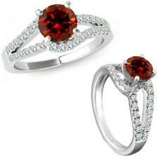 1.25 Ct Red Diamond Solitaire Promise Anniversary Bridal Ring 14K White Gold