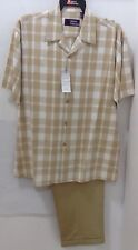 Mens 2 Piece Walking Suit Outfit Beige checkered  Dressy Casual Shirt/Pants Set