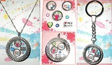 6-8pcs LOVE MY KIDS Personalised Living Memory Floating Locket Charms Photo