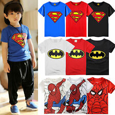 Girls Boys Kids Cartoon Batman Spiderman Superman Tee Tops T-Shirt Age 1-7 Years