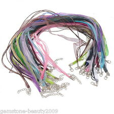 Wholesale HX Mixed Organza Ribbon Waxen Cord Lobster Clasp Necklaces 43.2cm