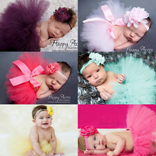 Infant Baby Girls Newborn Pearl Flower Headband + Tutu Skirt Set Photograph Prop