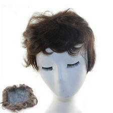 Hand Tied Black/Brown Wavy Curly Top Piece Toupee 100% Real Human Hair Extension