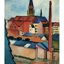 1911 August Macke St. Mary's With Houses And Chimney New Art Poster Reproduction
