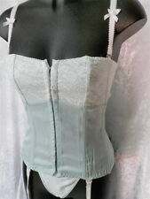 Satin & Lace Corset Bustier suspenders & thong Strapless lace-up suit sizes 8-16