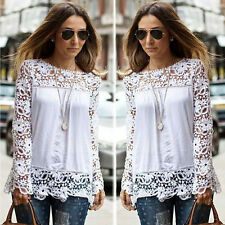 Fashion Women Sheer Long Sleeve Casual Lace Loose Shirt Chiffon T-Shirt Blouse