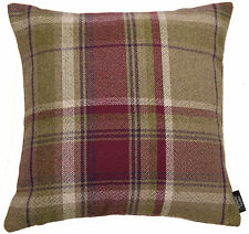 McAlister Textiles Heritage Wool Tartan Check Cushions & Covers - Mulberry