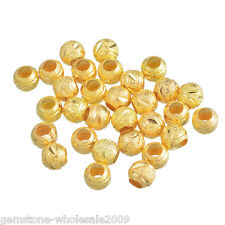Wholesale Lots Gold Plated Carved Stardust Spacers Beads 8mm Dia. Findings