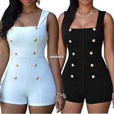 Sexy Women Square Neck Sleeveless Double-breasted Slim Fit Short Jumpsuit EA9