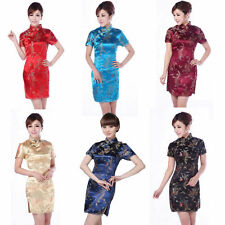 Women's Charming Chinese Dragon&Phoenix Silk Cheongsam Mini Evening Dress Qipao