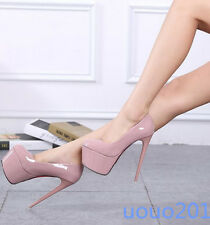 Sexy Womens Super High Heel Pump Buckle Platform Stilettos Nightclub Wear Shoes