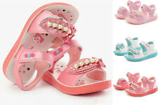 New Girls Sandals Shoes Toddler Kids Summer flexible shoes Velcro Size 9-4
