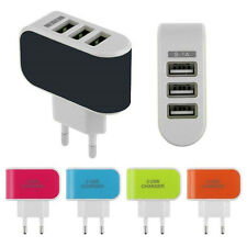 Home  Wall Travel 3-Port USB AC LED Power Charger Adapter EU Plug For iPhone HTC