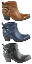 PLANET SHOES FEFI WOMENS/LADIES LEATHER COMFORT ANKLE BOOTS WITH MID HEEL